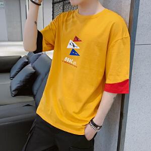 潮流个性五分袖短袖运动衫图案印花2019年新款韩版潮流半袖T恤