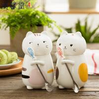 汉馨堂 马克杯 超萌立体动物猫咪可爱陶瓷水杯子情侣创意大容量马克杯带盖咖啡杯