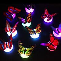 创意七彩发光LED小夜灯3d立体仿真蝴蝶墙贴纸客厅卧室儿童房装饰 中