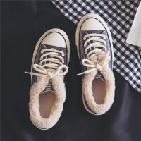 棉鞋女冬季新款韩版百搭基础款帆布鞋加绒保暖毛毛鞋休闲女鞋