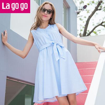 Lagogo2017夏季新款纯色V领衬衫高腰修身显瘦连衣裙女无袖裙子
