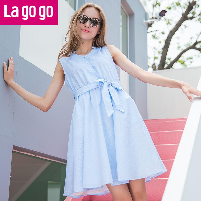【两件5折后价159.5】Lagogo2017夏季新款纯色V领衬衫高腰修身显瘦连衣裙女无袖裙子