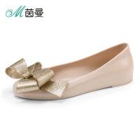 茵曼女鞋单鞋女2018春季浅口平底低帮女单鞋舒适果冻鞋4882012161
