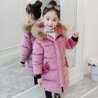 2019 儿童棉衣冬季新款童装女童保暖中大童中长款连帽棉袄外套