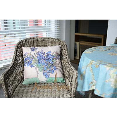 【春节不打烊/顺丰发货】蒙马特大街艺术抱枕沙发靠垫欧美创意布艺靠枕含芯包邮梵高鸢尾花瓶