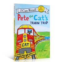 英文原版童书绘本 Pete the Cat's Train Trip 进口读物 4-6-8岁宝宝学习英语入门启蒙儿童图
