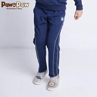 【2件3折 到手价:137】Pawinpaw卡通小熊童装秋男童抽绳松紧腰条纹休闲裤子潮