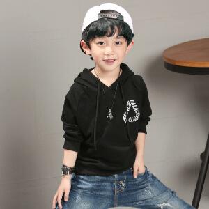乌龟先森 儿童卫衣 男童棉质连帽长袖单色印花上衣秋季韩版新款时尚休闲中大童款式T恤衫