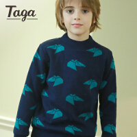 TAGA童装男童半高领毛衣2017冬装新款儿童加绒打底衫男孩子针织衫