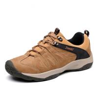 DAZED CONFUSED男鞋子秋冬户外休闲运动皮鞋低帮防滑男鞋登山鞋男猪皮透气鞋野外男