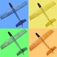 投掷手抛拼插玩具儿童泡沫飞机模型户外亲子塑料滑翔机