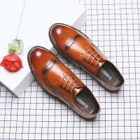 春秋男士韩版英伦雕花圆头系带休闲皮鞋 青年流行低帮鞋子