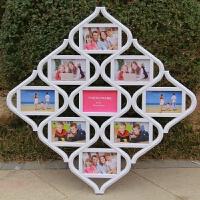 创意组合相框 6寸7寸10寸全家福相框 欧式照片墙 连体相框可挂墙 挂墙照片墙白色