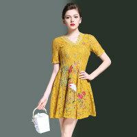 中国风女装连衣裙夏夏装新款时尚名媛气质显瘦刺绣蕾丝连衣裙