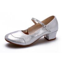 四季红色舞蹈鞋女广场舞鞋子跳舞鞋软底中跟高跟妈妈女式皮鞋