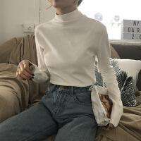 显瘦高领加绒打底衫女装韩版春装复古港味chic风保暖显瘦长袖t恤
