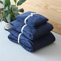 秋冬柔加厚保暖纯色简约风绒天鹅绒四件套短毛绒套件 宝蓝色 天鹅绒套件 2.0m(6.6英尺)床 床单款
