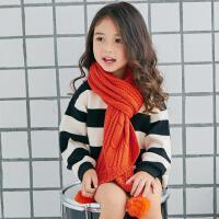 秋冬季儿童保暖 针织百搭韩版宝宝女童毛线围巾 可爱兔毛球中小童