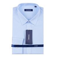 Youngor/雅戈尔秋季新品男士商务正装蓝格免烫长袖衬衫DP16273HJA