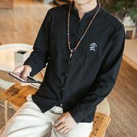 中国风秋装亚麻立领盘扣衬衫唐装绣字长袖衬衣青年纯色宽松上衣男