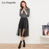 【3折到手价149元】两件套连衣裙女式新款韩版字母女神范气质蕾丝中长款套裙