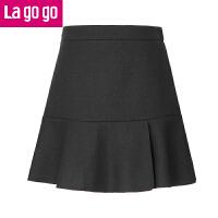【清仓3折价71.7】Lagogo2019春季新款纯色高腰黑色a字裙女半身裙百搭女裙子短裙