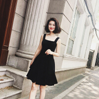 赫本风小黑裙夏季新款复古小香风修身显瘦漏背短裙款吊带连衣裙潮 黑色