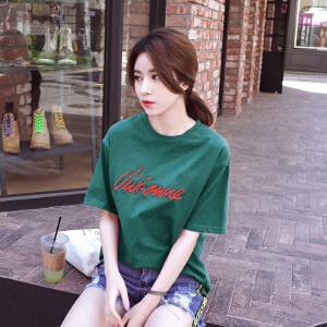 安妮纯绣花宽松短袖棉t恤女2019夏季新款韩版刺绣字母上衣百搭显瘦时尚小衫