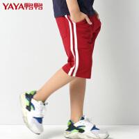 鸭鸭(YAYA)2018童装男童五分裤针织镶条短裤2018夏季新品裤子时尚休闲童裤潮