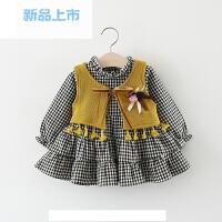 女童装套装春秋儿童马甲+格子连衣裙子两件套薄款婴儿宝宝春装女