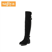 Safiya/索菲娅冬季新款圆头皮带扣粗跟舒适长靴女鞋SF64117009
