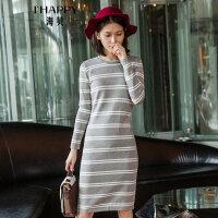 【满299减200】海贝2017冬装新款女 简约修身长袖条纹连衣裙一步裙