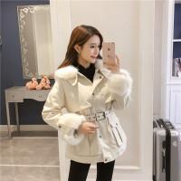 冬季韩版中长款收腰毛领工装加绒加厚红色棉衣女牛仔外套