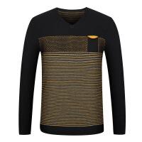 2018初秋男士薄款V领套头毛衣羊毛衫针织衫 条纹舒适内搭1-1