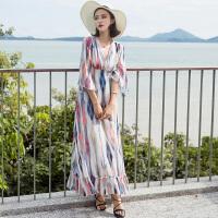 维绯新款条纹沙滩裙波西米亚长裙海边度假泰国显瘦雪纺连衣裙子 花色
