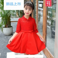 儿童礼服裙女童公主裙红色长袖花童婚纱蓬蓬裙钢琴生日演出服春季