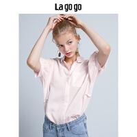 Lagogo拉谷谷V领宽松粉丝雪纺衫2019秋季新款女装短袖拼接上衣HCSS456C11