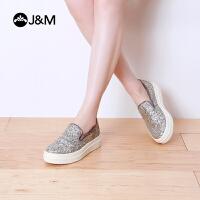jm欧美亮片套脚增高学生女乐福鞋