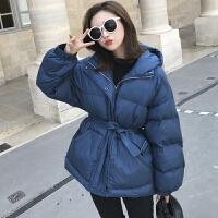 羽绒棉衣女装冬季韩版收腰显瘦系带连帽中长款小棉袄加厚外套