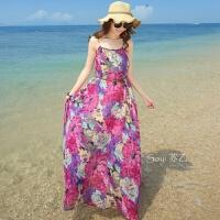 夏天雪纺碎花大码显瘦吊带连衣裙波西米亚海边度假胖mm沙滩裙长裙 玫红色 收藏送沙滩巾腰带