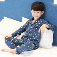 男童睡衣春秋薄款儿童家居服套装中大童夏季长袖10纯棉12岁15男孩