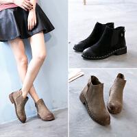 西瑞高帮套筒短靴女真皮内增高女靴子秋冬款时尚英伦单靴切尔西靴MN5131