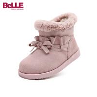 百丽Belle童鞋18冬季新款绒面牛皮靴时气质小花边加绒保暖靴子舒适防滑短靴(5-15岁可选)DE0776
