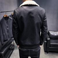 冬季潮男修身保暖机车PU皮夹克男士韩版帅气衣加绒外套