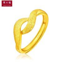 周大福 珠宝绕花足金黄金戒指Plus(工费:68计价)F197075