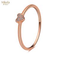 梦克拉 18K金钻石戒指 告白 k金钻饰 心形指环