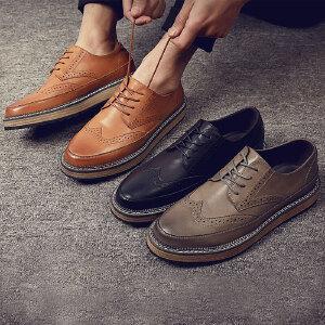2017春季新款新款休闲鞋英伦风复古男士时尚圆头系带皮鞋单鞋鞋子厚底男鞋子1178BBS支持