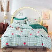 伊迪梦家纺纯棉四件套斜纹印花单人双人床单式全棉床上用品学生宿舍标准床SS1