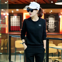 运动套装女士新款韩版大码春秋长袖圆领休闲运动学生卫衣套装女跑步两件套