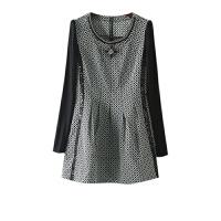 秋季女装新 小香风格子链条装饰长袖连衣裙秋冬欧洲站